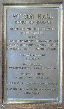 a8914821433 Woodrow Wilson Hall (James Madison University) - Image: JMU Wilson Hall  Plaque 20160316