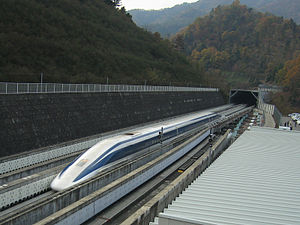 JR-Maglev at Yamanashi, Japan test track in No...