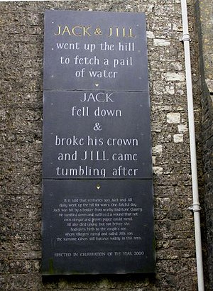 Jack and Jill (nursery rhyme) - The plaque erected in 2000 at Kilmersdon in Somerset to commemorate the village's association with the rhyme