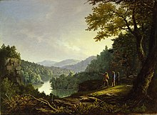 Painting of three men near a river, one of them pointing