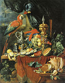 Jan Davidsz de Heem - A Richly Laid Table with Parrots - c. 1655.jpg