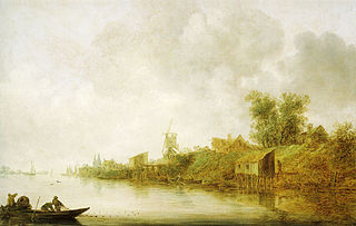 River landscape with fishermen