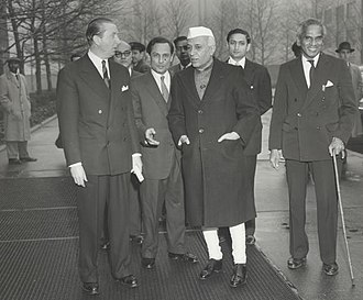 V. K. Krishna Menon -  1st Prime Minister of India Jawaharlal Nehru with V. K. Krishna Menon (age 60) in United Nations in December 1956.