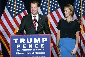 Jeff DeWit - Jeff DeWit with his wife Marina speaking at a campaign rally for Donald Trump in Phoenix, Arizona.