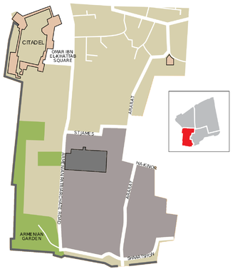 Armenian Quarter - Map of the Armenian Quarter, without the area considered by Israel as part of the Jewish Quarter (centre right). The monastery (Patriarchate) compound is shown in grey. The Cathedral of St. James is shown in darker grey.