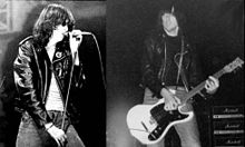 Black and white photos of a man singing into a microphone and a man playing electric guitar