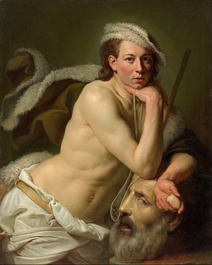 1756 in art - Image: Johan Zoffany Self portrait as David with the head of Goliath Google Art Project