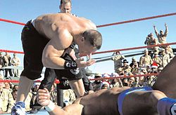 "Cena waves his ""You Can't See Me!"" taunt in front of Chris Masters."