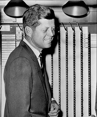 1960 United States presidential election - Kennedy cast his ballot at his polling place at a branch of the Boston Public Library.