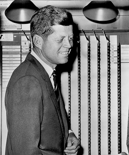 Kennedy cast his ballot at his polling place at a branch of the Boston Public Library. John F. Kennedy voting 1960.jpg