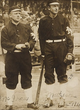 1911 World Series - Giants manager John McGraw and pitcher Christy Mathewson during the 1911 World Series.