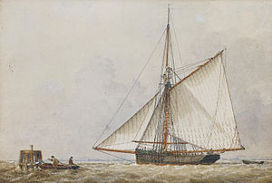 John Ward of Hull - A trading cutter shortening sail as members of her crew carry a mooring rope to a wooden dolphin nearby.jpg