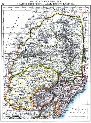 South African Republic - Map of South African Republic, Orange Free State, Natal, Basuto Land, etc.