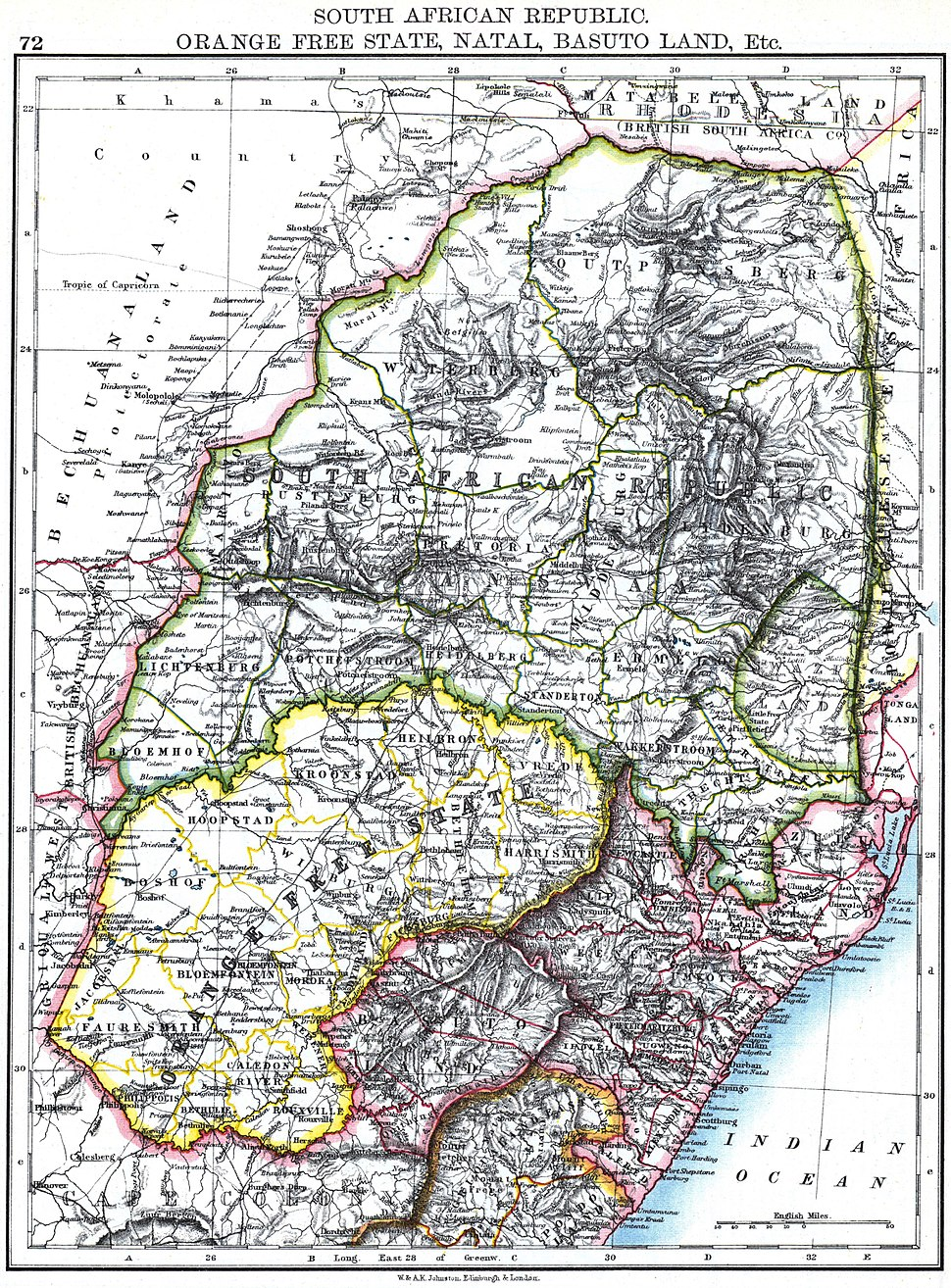 Johnston, W. and A.K. - South African Republic. Orange Free State, Natal, Basuto Land, Etc.