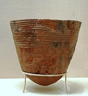 An Incipient Jōmon pottery vessel reconstructed from fragments (10,000-8,000 BC), Tokyo National Museum, Japan.