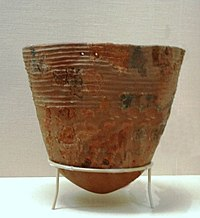An Incipient Jōmon pottery vessel reconstructed from fragments (10,000-8,000 BCE), Tokyo National Museum, Japan