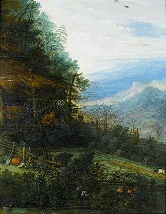 Joseph van Bredael - A mountainous landscape with a figure reading before a cottage