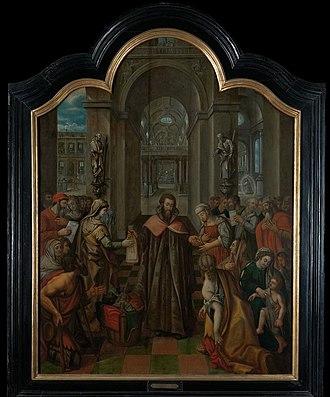 Ivo of Kermartin - St Ivo giving alms to the poor by Josse van der Baren