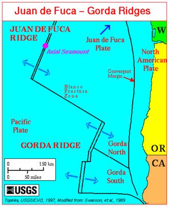 Blanco Fracture Zone - The Blanco Fracture Zone between the Gorda Ridge and the Juan de Fuca Ridge