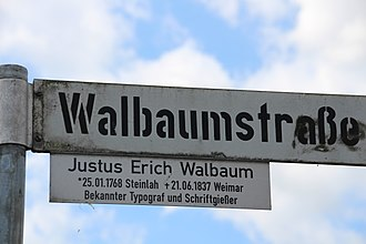 DIN 1451 - Stencilled and DIN-style lettering on a street sign in Steinlah, a district of Haverlah