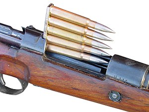 7.92×57mm Mauser - Karabiner 98k stripper clip with brass-cased 7.92×57mm ammunition