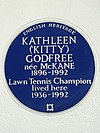 KATHLEEN ('KITTY') GODFREE née McKANE 1896-1992 Lawn Tennis Champion lived here 1936-1992.jpg
