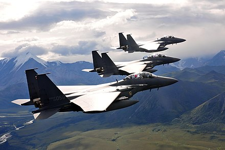 Three F-15K flying in formation during the Red Flag Alaska exercises, August 2013. KOCIS Korea Airforce 20130802 08 (9508635470).jpg