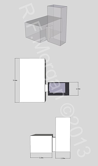 KV45 - Isometric, plan and elevation images of KV45 taken from a 3d model
