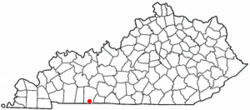 Location of Adairville, Kentucky