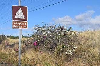 Kalaoa, Hawaii - A Kalaoa road sign on Hawaii Route 19, Kona District, Hawaii, between the 93 mile marker and Kaiminani Dr.