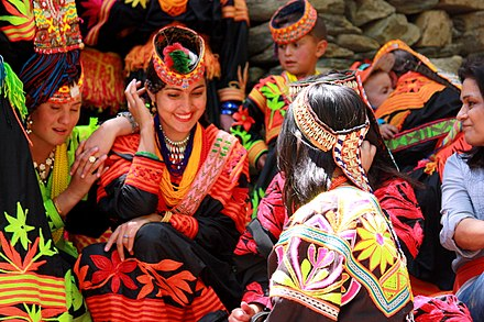 The Kalash people maintain a unique identity and religion within Pakistan. Kalash women traditional clothing.jpg