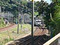Kammon railway tunnel Kyushu bound train through Honshu bound track.jpg