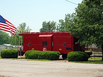 Gravette, Arkansas - This historic Kansas City Southern Railway Caboose No. 383 pays homage to the importance of the railroad to Gravette's economy and history.