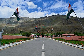 Vikram Batra - Kargil War Memorial with Tololing Ranges in the background at Dras