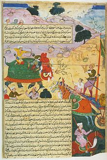 Karna, one of the Kauravas, slays the Pandavas' nephew Ghatotkacha with a weapon given to him by Indra, the king of the gods, from a manuscript of the Razmnama.jpg