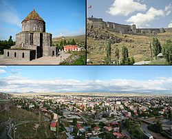 Clockwise from top left: The Cathedral of Kars; Castle of Kars, panoramic view of Kars.