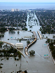 Flooded I-10/I-610/West End Blvd. interchange and surrounding area of northwest New Orleans and Metairie, Louisiana