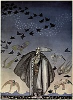 Kay Nielsen - East of the sun and west of the moon - the three princesses in the blue mountain - no sooner had he whistled than he heard a whizzing ad a whirring from all quarters.jpg