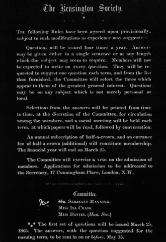 Kensington Society (women's discussion group) - Kensington Society Rules