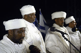 Kahen - Qesat saying a prayer for Jews from Ethiopia who perished in Sudan on their way to Israel. Qes Samai Maharat Elias is on the left.