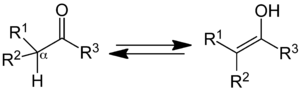 Keto–enol tautomerism - Keto–enol tautomerism. Keto form (left); enol form (right).