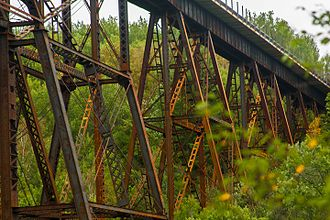 Sandstone, Minnesota - High trestle carrying the BNSF Hinckley Subdivision over the Kettle River in Sandstone