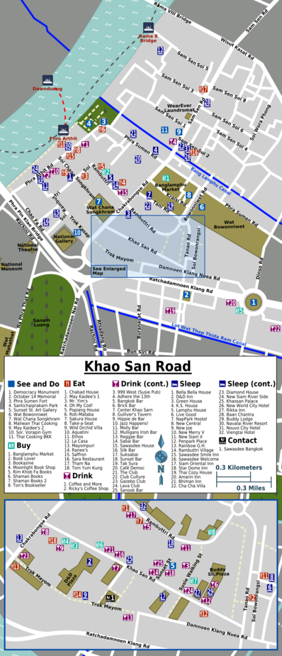 Map of Bangkok/Khao San Road