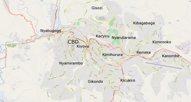 Map showing major suburbs of Kigali
