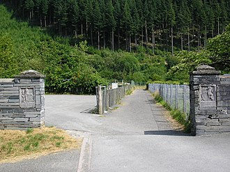 Corris - The entrance to King George's Field next door to the junior school