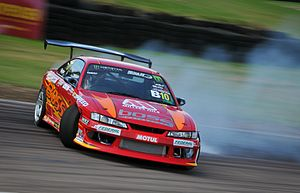 Drifting (motorsport) - Steve Moore drifting his Nissan Silvia (S14) around Lydden Hill at King of Europe Round 3 (2014)