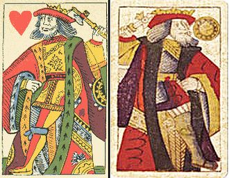 King (playing card) - French Rouen pattern on the left, Spanish Toledo pattern on the right