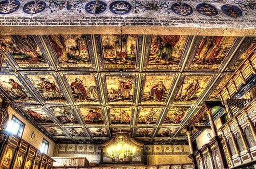Klępsk - strop nawy. 27 dużych i 6 małych obrazów na tle gwiaździstego nieba. Prorocy i apostołowie.