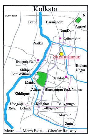 Shyambazar - Image: Kolkata Shyambazar 2 Map
