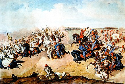 Hungarian hussars in battle during the Hungarian Revolution Komáromi csata II Than 2.jpg